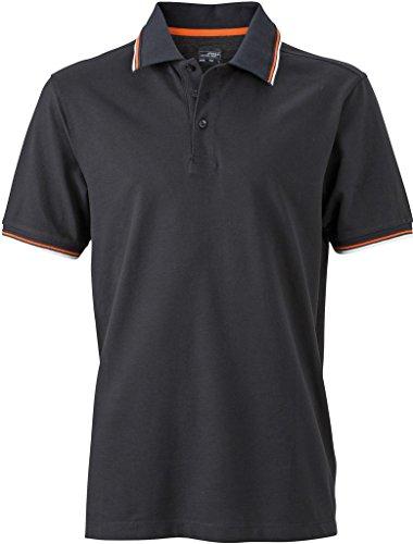 JN966 Men´s Coldblack® Polo Black-White-Orange