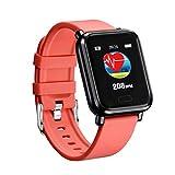 Maxpex Smartwatch,Reloj Inteligente Pulsera Actividad Inteligente Impermeable IP67 para Hombre Deportes, Pulsómetro, Monitor de Caloría y Sueño, Negro (Rojo)