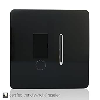 Trendi Switch Artistic Modern Glossy Fused Spur Switch Black