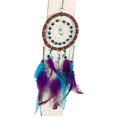 WINOMO Atrapasueños grande para sueños buenos con perlas y plumas naturales