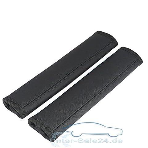 Set of 2 Seatbelt Pad in Black seatbelt Pad made of 100% Genuine Leather