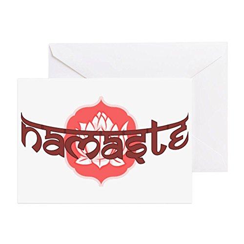 CafePress Namaste Lotus Grußkarte, Notizkarte, Geburtstagskarte, blanko Innenseite matt