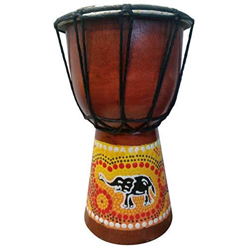 20cm Djembe Bongo Drum Trommel für kleine Kinder Handarbeit mit einen Elefanten Bemalt (Klein Kinder 2-3 Jahre)