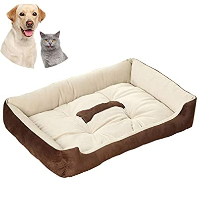 Galaxer Dog Bed, Dog Cat Pet Matress Washable Pillow Cushion Soft Warm PP Cotton Bed with Anti-slip Bottom Extremely Soft & Comfortable Relieve Painful Pressure for Elderly Dogs by Galaxer