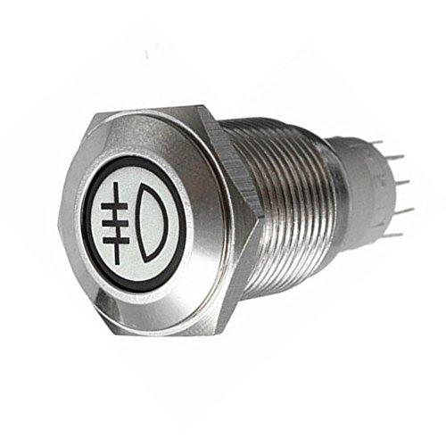 Supmico 16mm KFZ Kippschalter Wippschalter Schalter Drucktaster 12V Rot LED Licht Lampe Metall Nebelschlussleuchte -
