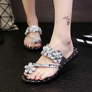 Pantofole & flip-flops Comfort estivo PU Casual tacco piatto Applique nero argento a piedi US6.5-7 / EU37 / UK4.5-5 / CN37