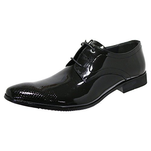 Robelli Designer Men's Faux Patent Leather with Textured Toe Smart Lace-Up Dress...