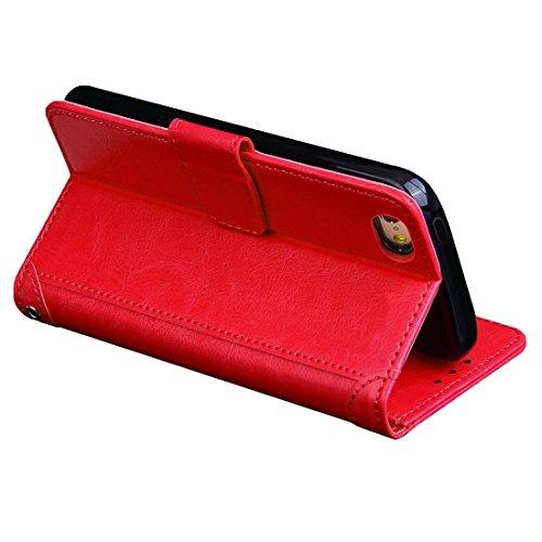 Wkae Case Cover Für iPhone 5 & 5s & SE Crazy Horse Texture Horizontal Flip-Ledertasche mit Foto-Rahmen und Halter & Karten-Slots und Brieftasche & Lanyard ( Color : Red ) Red