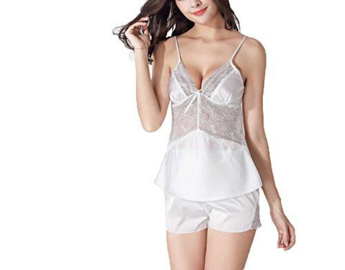 Donne Pigiama cablaggio Pantaloni corti vestito a due pezzi Loungewear sexy in pizzo # 2