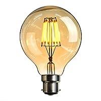 LED Bayonet Edison Bulb, Elfeland Edison Vintage Style Energy-Saving Bulbs - Amber Glass Shell - 2200K Warm White 600LM - B22 Bayonet Cap Lamp - 6W LED Filament Equivalent 60W Incandescent - Dimmable 220V G80 (?80mm)