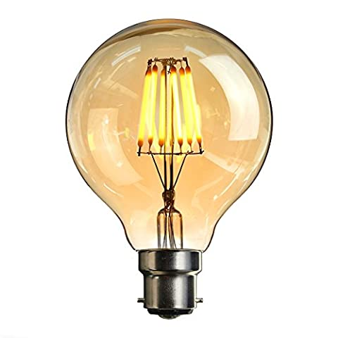 LED Bayonet Edison Bulb, Elfeland Vintage Style Energy-Saving Bulbs - Amber Glass Shell - B22 Bayonet Cap - 6W LED Filament Equivalent 60W Incandescent - Dimmable Warm White G80 (φ80mm)