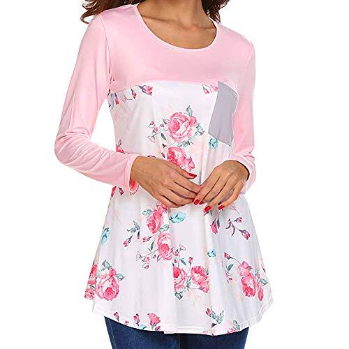 Damen Bluse,Geili Frauen Herbst Blumendrucken Langarmshirt Freizeit O-Ausschnitt Tasche Patchwork Blumenmuster T Shirt Casual Bluse Basictop