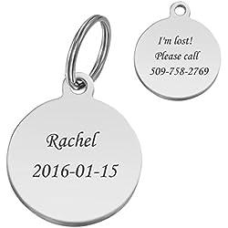 HooAMI Médaille Chien Identification Gravure Personnalisé Prénom Adresse Tel en Acier Inoxydable avec Service Gratuit de Gravure pour Moyen/Petit Chien