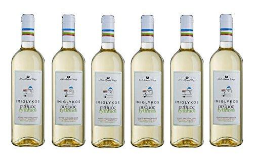 6x Rythmos Weißwein Imiglykos lieblich je 750ml 11,0% Creta Olympia Winery 6 Flaschen lieblicher Weiß Wein aus Griechenland Kreta im Set + 2 Probiersachets 10ml Olivenöl