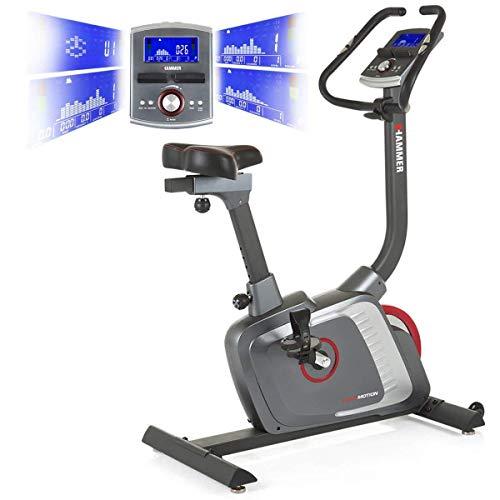 HAMMER Premium Ergometer Heimtrainer Ergo Motion BT, APP Steuerung für Smartphone, Bluetooth Anbindung, 22 Trainingsprogramme, 12 Bergprofile und Talprofile, 4 Herzprogramme, LCD Colour Display (Training Fahrrad)