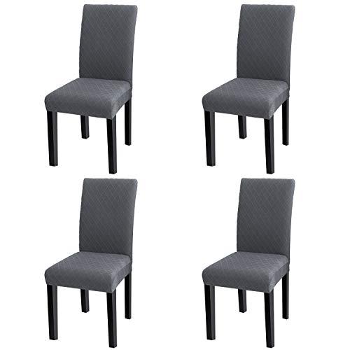 YISUN Universal Stretch Stuhlhussen 4er 6er Set Stuhlbezug für Stuhl Esszimmer (4er Set, Grau) - Machen Esszimmer Stuhl Hussen