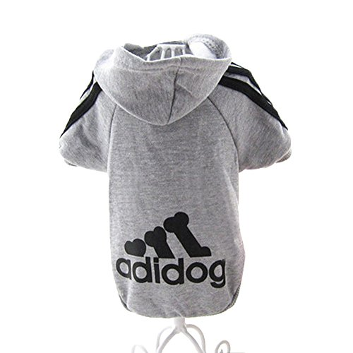 JUYUAN-EU Adidog HundeKleidung Warm Hoodies Mantel Hundejacke Hündchen Pullover T-Shirt Haustier Welpen Mantel Farbe:Grau Grösse:S