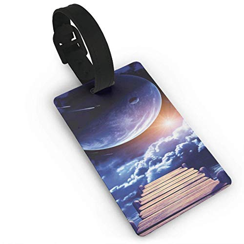 äckanhänger mit Namensausweis Personalausweis Luggage Tags Flexible Travel ID Identification LabelsWatching A Meteor Rain from A Wooden Dock Under The Sun Rays ImageTravel Accessory with Wristband Flexibles Dock