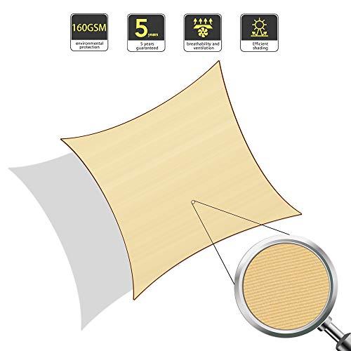 Sunnylaxx tenda a vela quadrata 3 x 3 metri, impermeabile e resistente, per spazi all'aperto, color sabbia