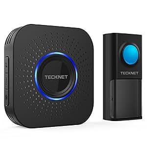 TeckNet Sonnette sans Fil Étanche Wireless Doorbell Kit de Carillon Portable Sonnerie de 150m avec 58 Mélodies, Transmetteur étanche IP55, 4-Niveaux Volume, Flash LED pour Maison, Bureau et Boutique