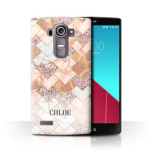 eSwish Personalisiert Individuell Geometrischer Marmor Glitter Hülle für LG G4 Beat/H735 / Chevron Mosaik Funkeln Design/Initiale/Name/Text Schutzhülle/Case/Etui (Glitter Beats Skins)