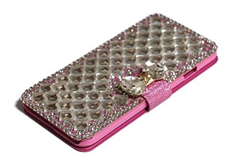iPhone 6Plus/6S Plus Fall, Handwerk von jabit Luxus Bling Strass Wallet Schutzhülle Ultrathin magnetischem Ständer Leder Buch Kristall Schutzhülle 3Farben, Rose Pink