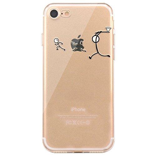 iPhone 6 6S 4.7 Case TPU Gomma Morbida Trasparente Silicone Ultra Sottile Slim Disegno Personalizzato Cartoni Animati ZQ-Link® (Panda) Caccia