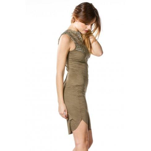 Princesse boutique - Robe KAKI col dentelle Vert