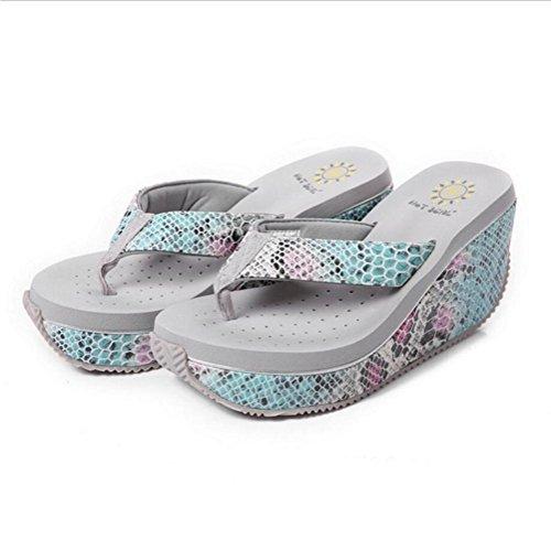 Femmes femmes dété tongs anti-dérapant sandales mode pantoufles à talons hauts Buy 2 Get 1 Free grey
