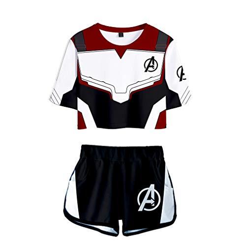 dgame Druck Crop Top T-Shirts und Kurze Hose Kleidung Zweiteiler Superheld Quantum Realm Cosplay Kostüm für Mädchen und Frauen Sportswear Suit 1 XS ()