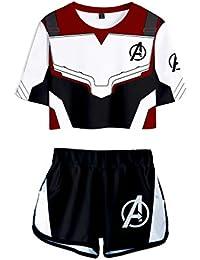 Memoryee Avengers imprimiendo Camisetas Ropa Corta y Pantalones Cortos,Superhéroe Reino cuántico Traje de Cosplay Traje de Dos Piezas para niñas y Mujeres Ropa Deportiva