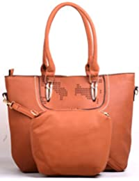 Hopping Street Brown Faux Leather Women Handbag