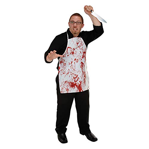 (JYOHEY Halloween Schürze Blutige Schürze Gruselig Halloween Kostüm Metzger Mit Blut Messer Für Halloween Deko Zombie Fasching Karneval)