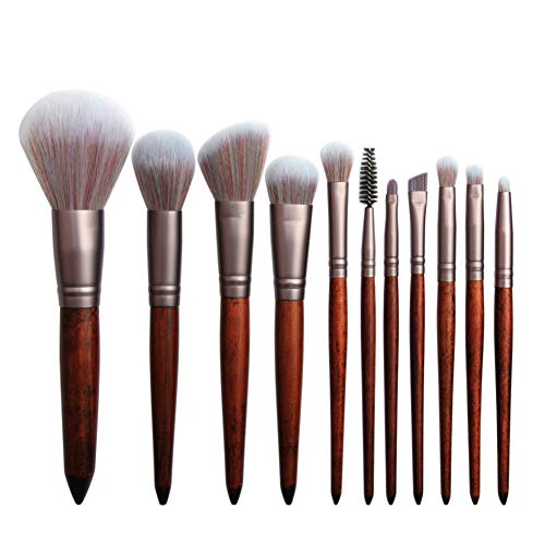 Holzgriff Make-up Pinsel Brown Cosmetic Eyebrow Lidschattenpuder Lip Brush Set voll professionelles Make-up - Brown-lip Brush