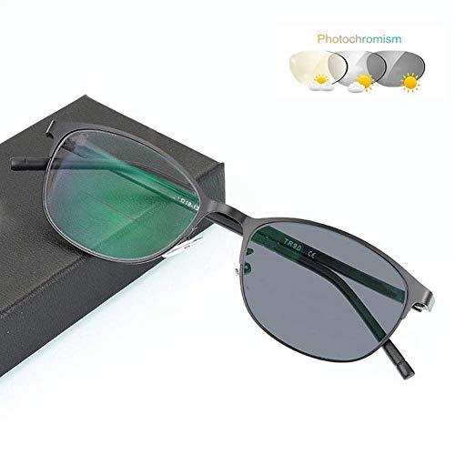 HQMGLASSES Farbwechselnde Lesebrille, asphärische HD-Spiegel-Metallrahmen-Sonnenbrille / UV400-Blendschutz 1,0 bis 3,0 für Männer und Frauen,02,+300