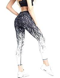 COOLOMG Damen Sport Leggings Yoga Hose Laufhose Fitnesshose Jogginghose Gemustert XS-XL MEHRWEG