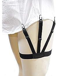 Swamey Men Shirt Stay Shirt Holder Garter Belt Clamp Clip Non-Slip Suspender (1 Pair, Black)