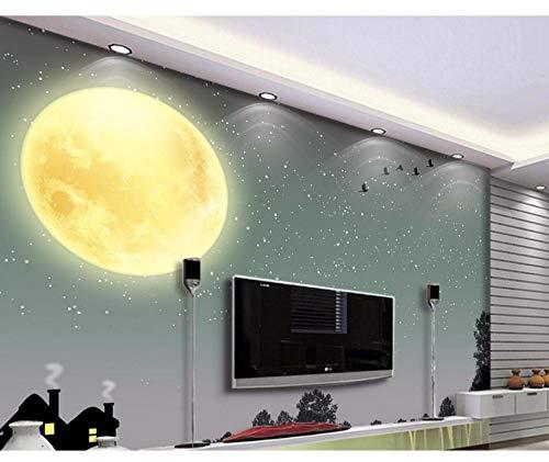 Preisvergleich Produktbild Xzfddn Benutzerdefinierte 3D Wallpaper Klassische Tapete Für Wände Mond Himmel Baum Silhouette Wohnzimmer Tapete 3D-Malerei-150X120CM