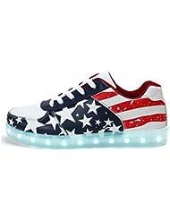 SAGUARO Unisex Hombres Mujeres de carga USB Zapatos de la bandera americana de deportes LED luminoso que destellan las zapatillas de deporte