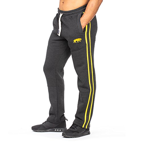 SMILODOX Herren Jogginghose | Trainingshose für Sport Fitness Gym Training & Freizeit | Sporthose - Jogger Pants - Sweatpants Hosen - Freizeithose Lang, Farbe:Anthrazit/Gelb, Größe:M