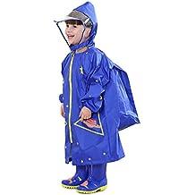 Bwiv Impermeabile Bambina Poncho Pioggia Bambino Proteggere lo Zaino con Cappuccio Traspirante Leggero per I Bambini 2-10 anni