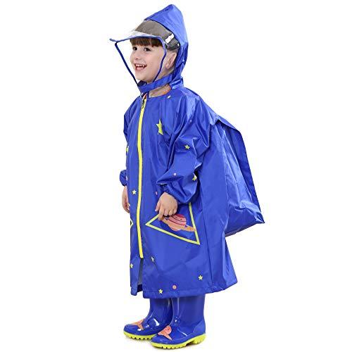 Bwiv Poncho Pluie Enfant à Capuche avec Position de Sac à Dos Imperméable Fille Cape Pluie Garçon Léger 2-10ans Vêtements de Pluie Bleu(Fusée) 6-10ans / Marque:L