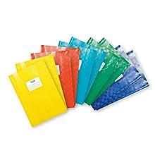 Elba 100800039 - Copertine per quaderni, formato A4, 10 pezzi, in 5 colori assortiti, con copertina rigida, flessibile e lavabile