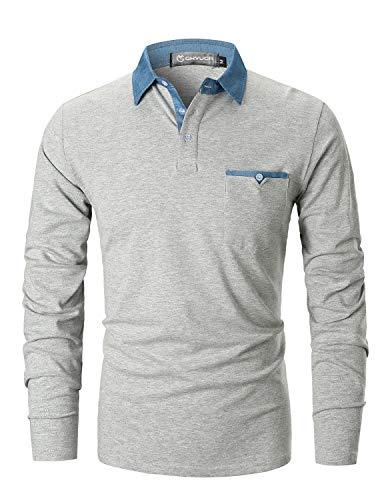 GHYUGR Poloshirts Herren Basic Langarm Baumwolle Polohemd Denim Nähen Golf T-Shirt S-XXL (L, Grau 2) -
