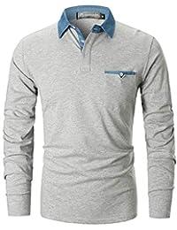 145159a309ad4 GHYUGR Polo para Hombre Mangas Largas Denim Costura Camisas Algodón Slim  Fit Camiseta Golf Poloshirt T