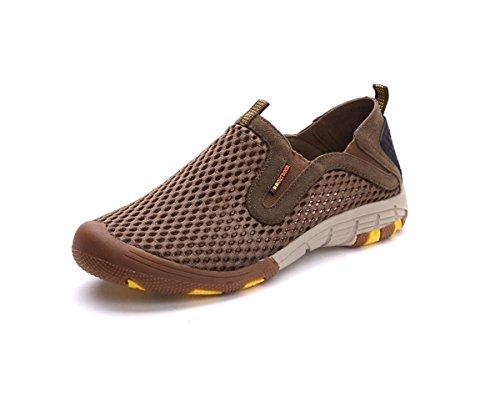 Chaussures escalade extérieure en cuir respirant randonnée outdoor tout terrain chaussures occasionnelles Khaki