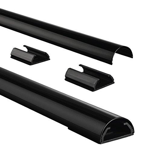 Hama Kabelkanal Alu (Aluminium Leiste für TV Wandhalterung, Kabelabdeckung halbrund,  110 x 3,3 x 1,8 cm, Kabeldurchführung für bis zu 5 Kabel, inkl. Montagematerial) schwarz - Aluminium Kabelabdeckung