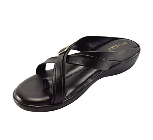 Khadims Women's Faux Leather Black Flat Sandal-9