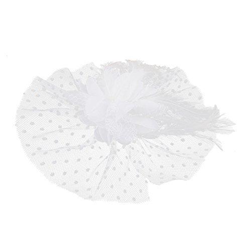 Frauen Mesh-Faux-Feder-Blumen-Spitze-Akzent-Sicherheitsnadel Haar Weißen Clip (Akzent Spitzen)
