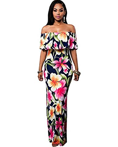 BIUBIU Women's Floral Off Shoulder Ruffle Bodycon Long Party Maxi Dress Rose Flowers Print UK 14